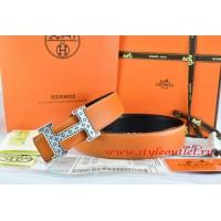 Hermes Orange/Black Leather Men Reversible Belt 18k Silver Speckle H Buckle