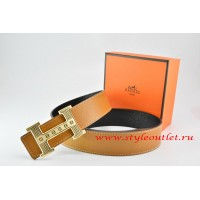 Hermes Light Coffe/Black Leather Men Reversible Belt 18k Gold Stripes Logo H Buckle