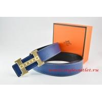 Hermes Dark Blue/Black Leather Men Reversible Belt 18k Gold Stripes Logo H Buckle