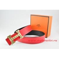 Hermes Red/Black Leather Men Reversible Belt 18k Gold Stripes Logo H Buckle