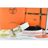 Hermes White/Black Leather Men Reversible Belt 18k Gold Stripes Logo H Buckle