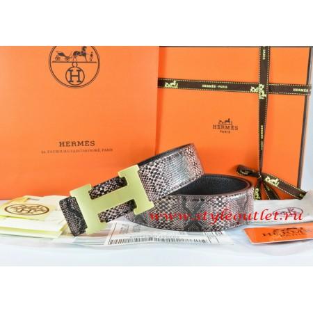 5b77c203794a Hermes Brown Black Snake Stripe Leather Reversible Belt 18K Gold H Buckle  ...