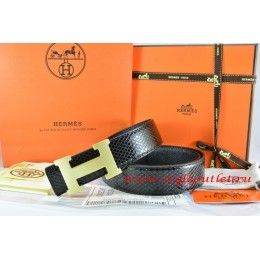 Hermes Black/Black Snake Stripe Leather Reversible Belt 18K Gold H Buckle