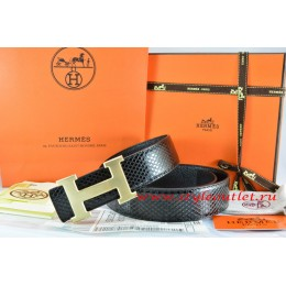 Hermes Black/Black Snake Stripe Leather Reversible Belt 18K Drawbench Gold H Buckle
