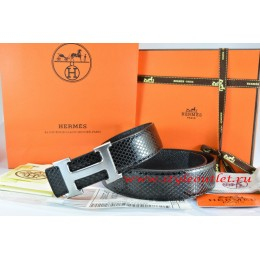 Hermes Black/Black Snake Stripe Leather Reversible Belt 18K Drawbench Silver H Buckle