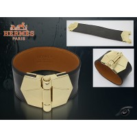 Hermes Berenice Leather Black Bracelet With Gold Cuff