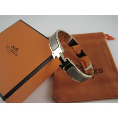 Hermes Black Enamel Clic H Bracelet Narrow Width 12mm In Rose Gold