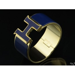 Hermes Blue Enamel Clic H Bracelet Narrow Width (33mm) In Gold