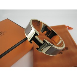 Hermes Brown Enamel Clic H Bracelet Narrow Width (18mm) In Gold