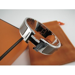 Hermes Brown Enamel Clic H Bracelet Narrow Width (18mm) In Silver
