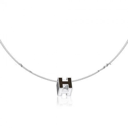 Hermes Cage d'H Necklace Black in Lacquer With Gold