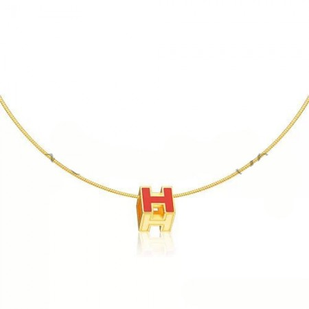 Hermes Cage d'H Necklace Orange in Lacquer Yellow Gold