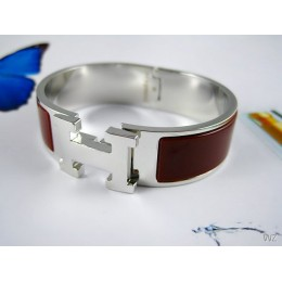 Hermes Coffee Enamel Clic H Bracelet Narrow Width (18mm) In Silver