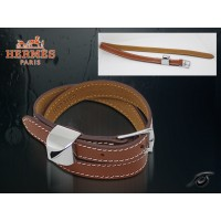 Hermes Double Tour Leather Light Coffee Bracelet With Gold