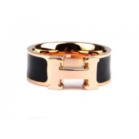 Hermes Enamel Clic H Ring in 18kt Pink Gold with Black