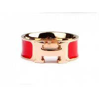 Hermes Enamel Clic H Ring in 18kt Pink Gold with Red