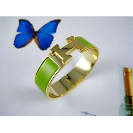 Hermes Green Enamel Clic H Bracelet Narrow Width (18mm) In Gold