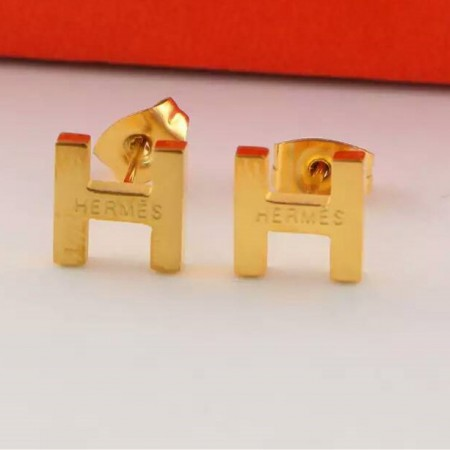 Hermes H Earrings In Yellow Gold