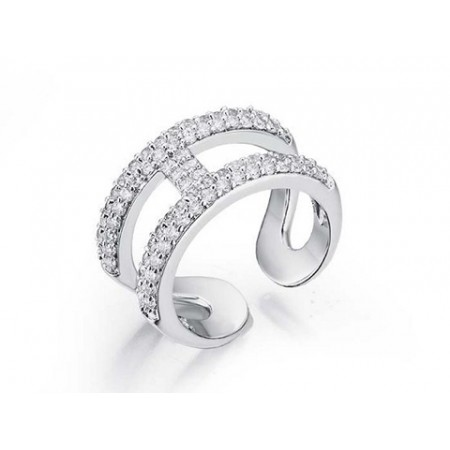 Hermes H Hollow Diamond in White Gold Ring