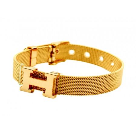 Hermes H Logo Adjule Band Bracelet Gold