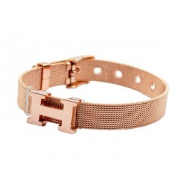 Hermes H Logo Adjustable Band Bracelet Pink Gold