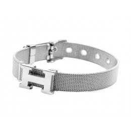 Hermes H Logo Adjustable Band Bracelet White Gold