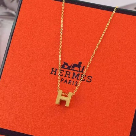 "Hermes ""H"" Necklace Yellow Gold"