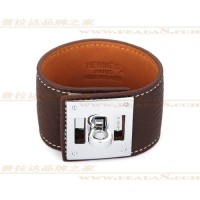 Hermes Kelly Dog Brown Bracelet With Silver