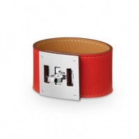 Hermes Kelly Dog Red Bracelet With Silver