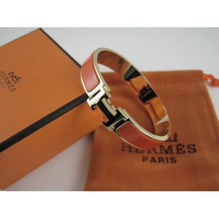 Hermes Orange Enamel Clic H Bracelet Narrow Width (12mm) In Gold