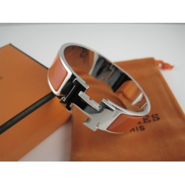 Hermes Orange Enamel Clic H Bracelet Narrow Width (18mm) In Silver