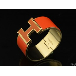 Hermes Orange Enamel Clic H Bracelet Narrow Width (33mm) In Gold