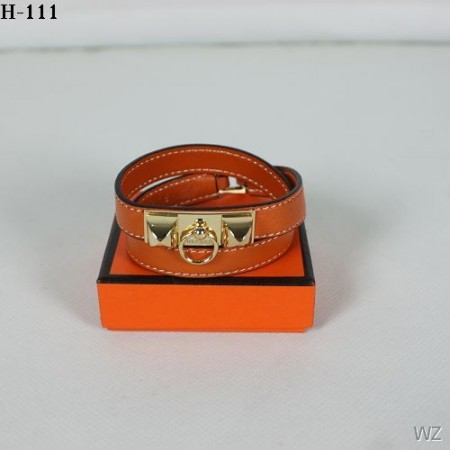 Hermes Orange Rivale Double Wrap Bracelet In Gold