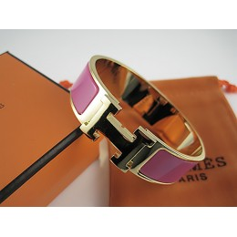 Hermes Peach Enamel Clic H Bracelet Narrow Width (18mm) In Gold