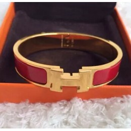 Hermes Red Enamel Clic H Bracelet Narrow Width (12mm) In Gold