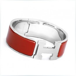 Hermes Red Enamel Clic H Bracelet Narrow Width (18mm) In Silver