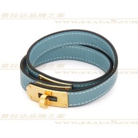 Hermes Rivale Double Wrap Blue Bracelet In Gold