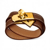 Hermes Rivale Double Wrap Light Coffee Bracelet With Gold