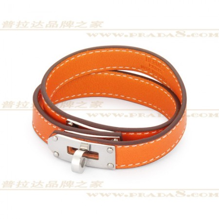 Hermes Rivale Double Wrap Orange Bracelet In Silve At Great