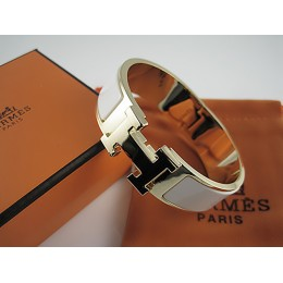 Hermes White Enamel Clic H Bracelet Narrow Width (18mm) In Gold