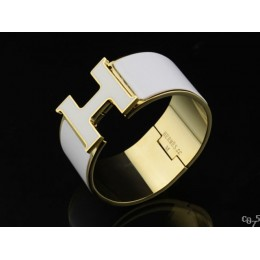 Hermes White Enamel Clic H Bracelet Narrow Width (33mm) In Gold