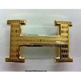 Hermes Belt 18K Gold Lizards Stripe Buckle