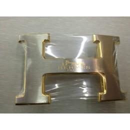 Hermes Belt 18K Gold Silver With Logo Buckle
