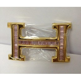 Hermes Belt 18k Gold With Pink Diamonds H Buckle
