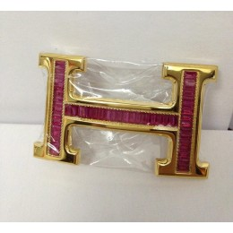 Hermes Belt 18k Gold With Red Diamonds H Buckle