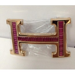 Hermes Belt 18k Rose Gold With Red Diamonds H Buckle