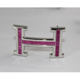 Hermes Belt 18k Silver With Pink Diamonds H Buckle