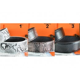 Hermes Snake Stripe Leather Reversible Belt 3 Color Without Buckle