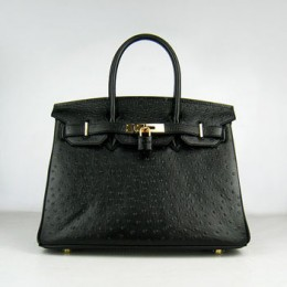 Hermes Birkin 30Cm Ostrich Stripe Handbags Black Gold