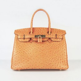 Hermes Birkin 30Cm Ostrich Stripe Handbags Orange Gold
